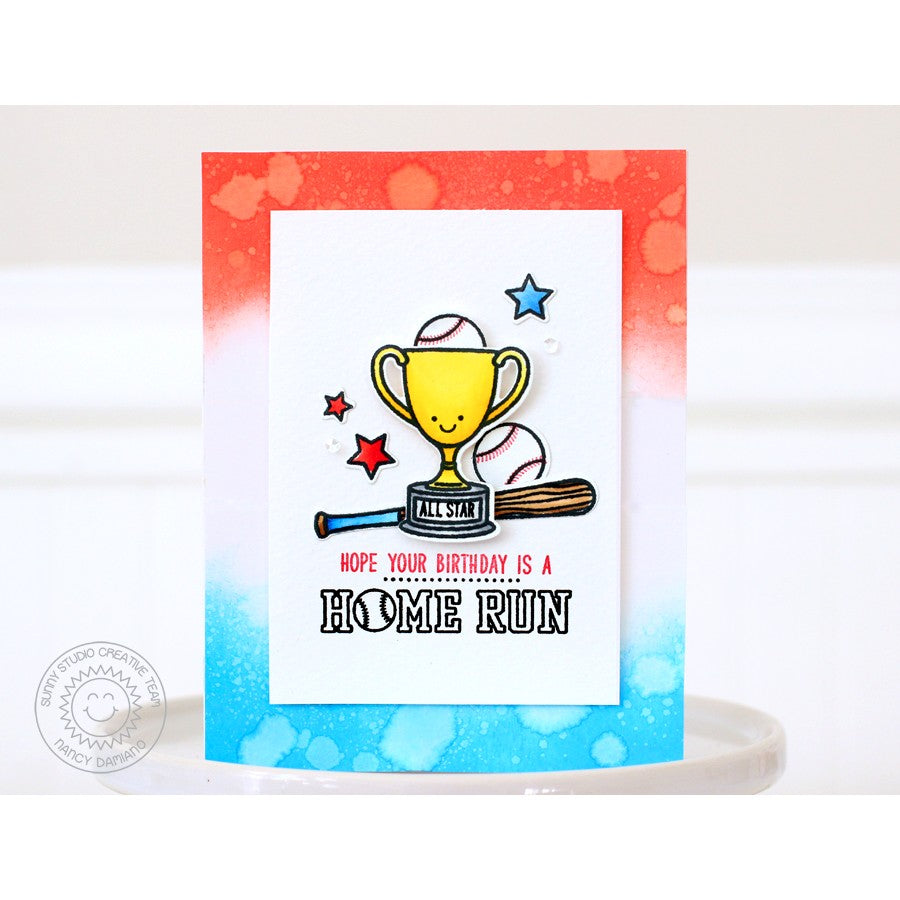 Sunny Studio Stamps Team Player Baseball Trophy Birthday Card by Nancy Damiano