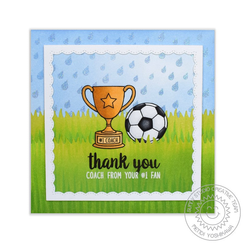 Sunny Studio Stamps Rain Showers Soccer Card by Mendi Yoshikawa