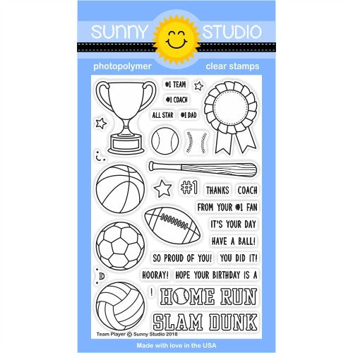 Sunny Studio Team Player 4x6 Sports Themed Clear Photopolymer Stamp Set