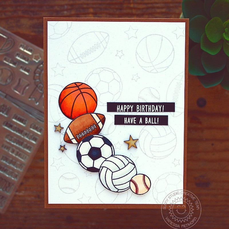 Sunny Studio Stamps Team Palyer Basketball, Football, Soccer, Volleyball & Baseball birthday card