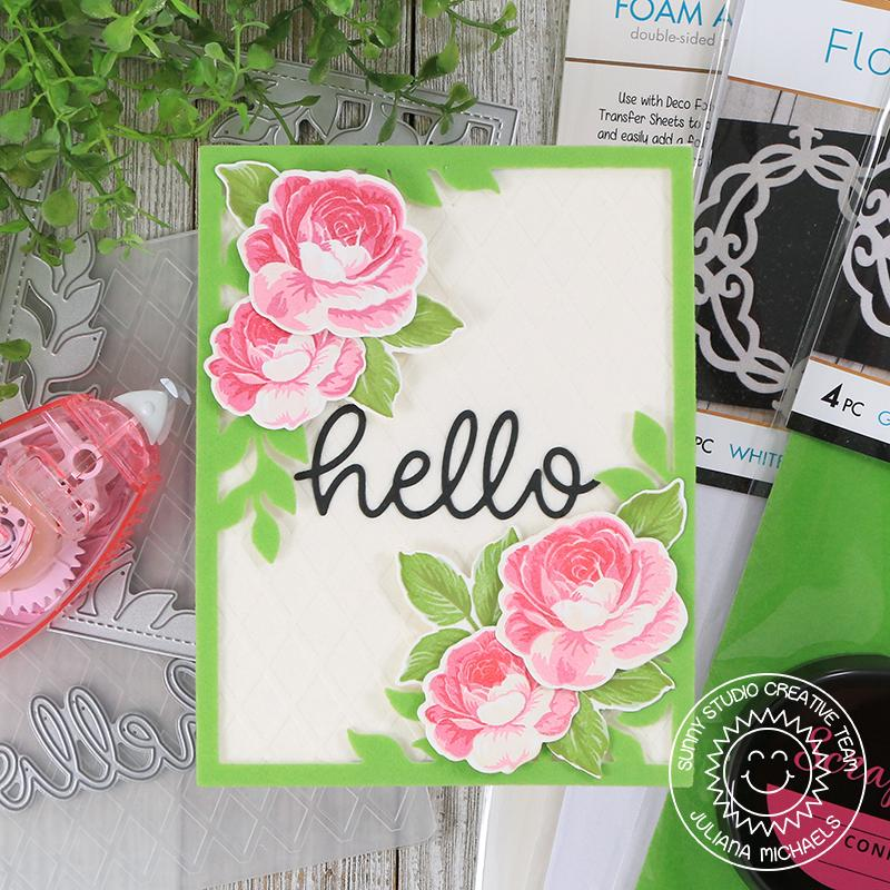 Sunny Studio Stamps Everything Rosy Pink & Green Layered Rose Flocked Card by Juliana Michaels