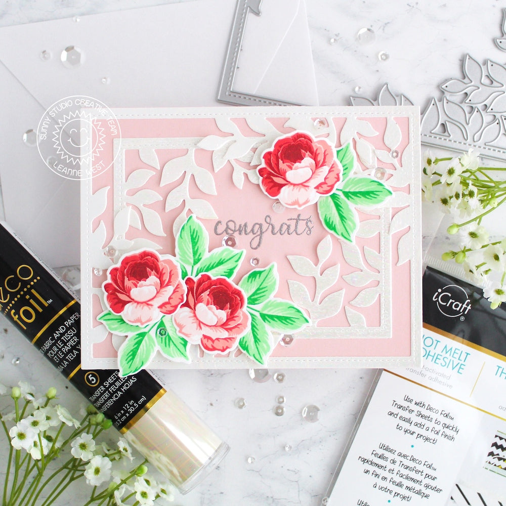 Sunny Studio Stamps Everything Rosy Pink & Red Layered Rose Congrats Wedding Card by Leanne West