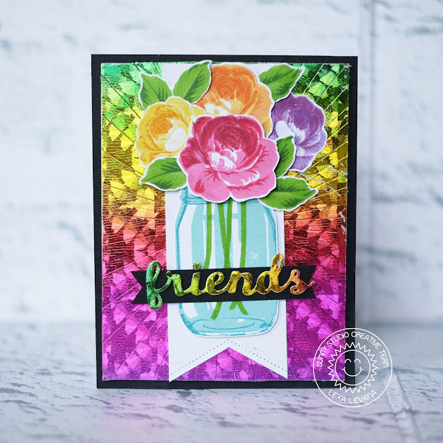 Sunny Studio Stamps & Therm O Web Rainbow Foil Everything Rosy Layered Rose Card by Lexa Levana