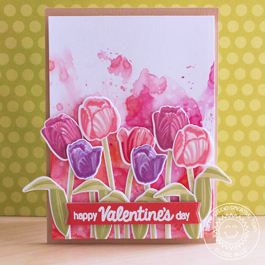 Sunny Studio Stamps Pink & Lavender Layered Tulips Watercolor Valentine's Day Handmade Card (using Timeless Tulips 4x6 Clear Photopolymer Color Layering Stamp Set)