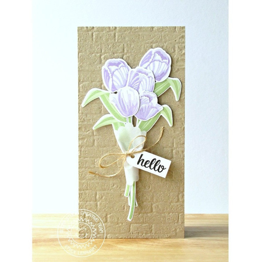 Sunny Studio Stamps Lavender Layered Tulips Spring Bouquet Hello Handmade Card (using Timeless Tulips 4x6 Clear Photopolymer Color Layering Stamp Set)