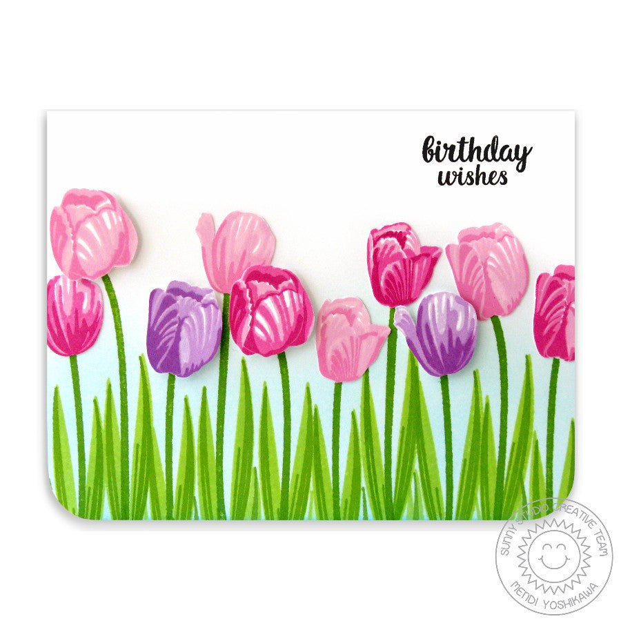 Sunny Studio Stamps Timeless Tulips Tulip Fields Birthday Card