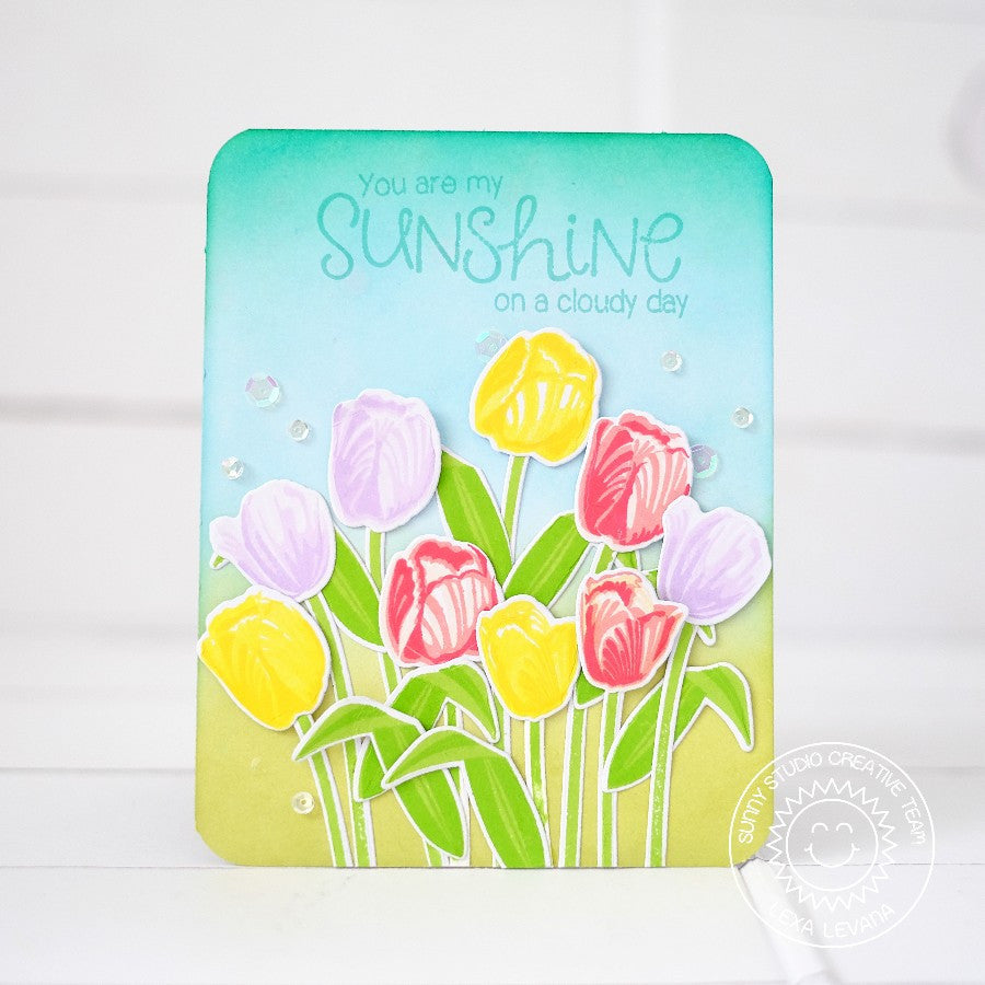 "Sunny Studio Stamps ""You Are My Sunshine On A Cloudy Day"" Layered Tulips Spring Handmade Card (using Timeless Tulips 4x6 Clear Photopolymer Color Layering Stamp Set)"