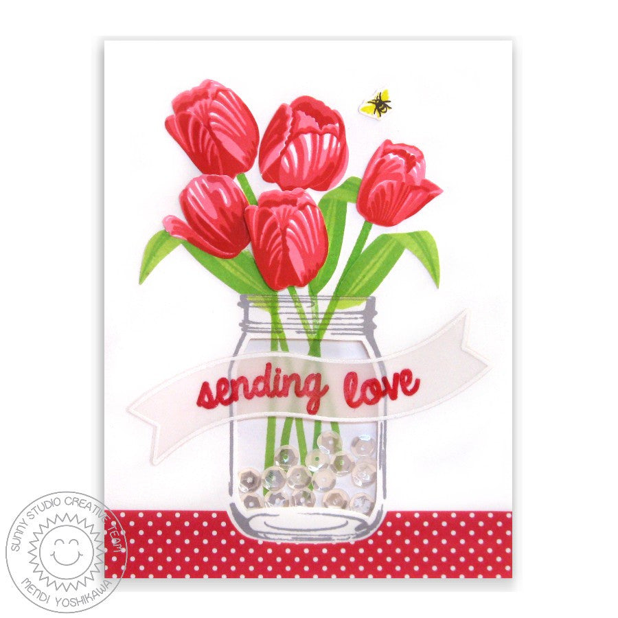 Sunny Studio Vintage Jar with Tulips Shaker Card