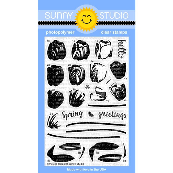 Sunny Studio Stamps Timeless Tulips 4x6 Layering Tulip Photo-Polymer Clear Stamp Set