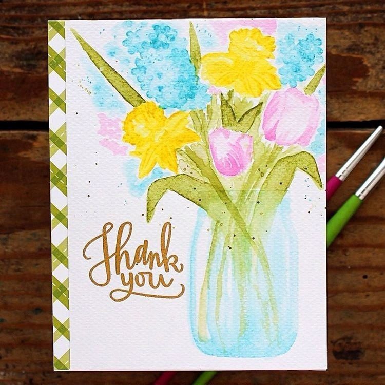 Sunny Studio Stamps Watercolor Daffodil & Tulips Spring Handmade Thank You Card (using Timeless Tulips 4x6 Clear Photopolymer Color Layering Stamp Set)