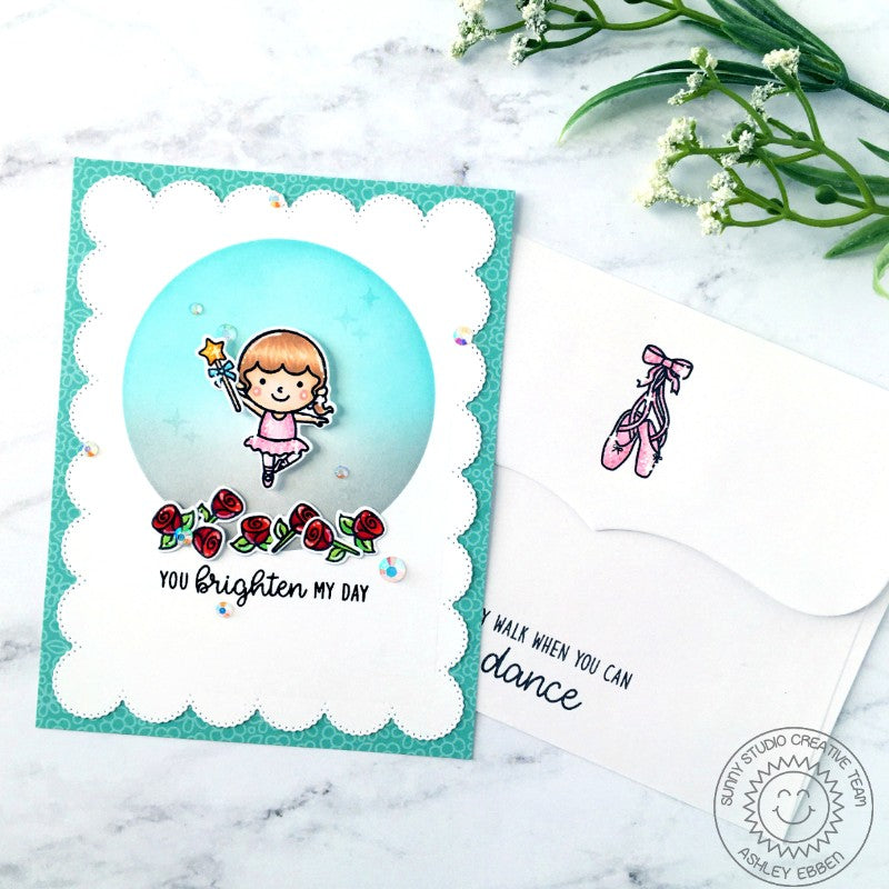 Sunny Studio Stamps Why Walk When You Can Dance Ballerina with Roses & Ballet Slippers Handmade Card (using Tiny Dancers 4x6 Clear Photopolymer Stamp Set)