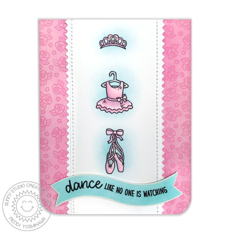 Sunny Studio Tiny Dancers Ballet Dress & Slippers Card by Mendi Yoshikawa