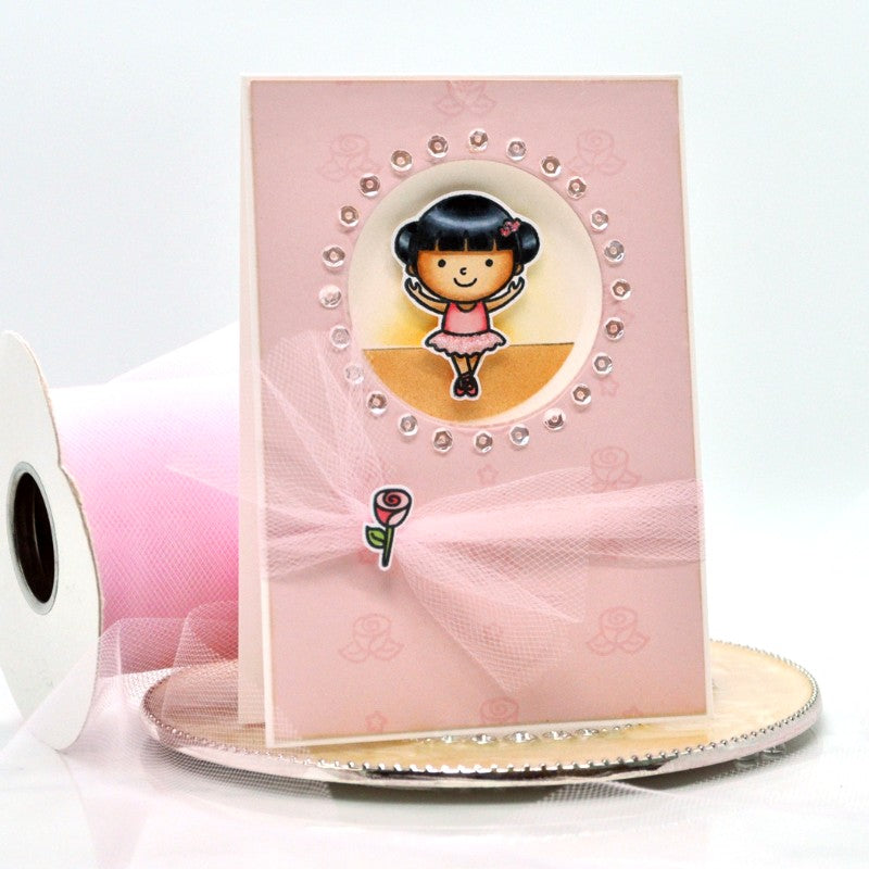 Sunny Studio Stamps Tiny Dancer Tulle & Sequins Ballerina Card