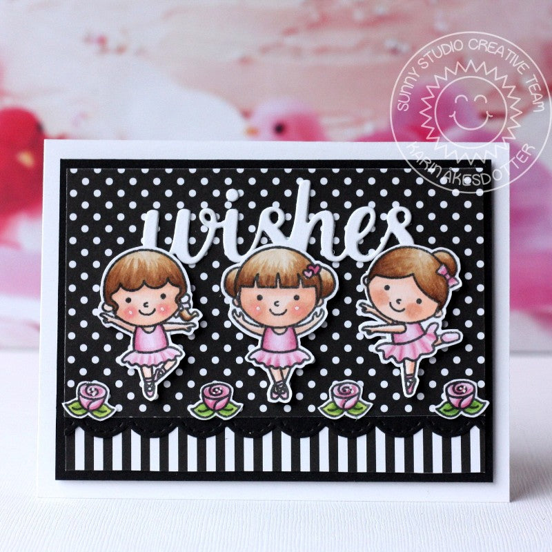 Sunny Studio Stamps Black & White Polka-dot Ballerina Wishes Card