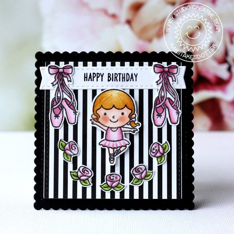 Sunny Studio Stamps Tiny Dancers Black & White Striped Ballerina Birthday Card