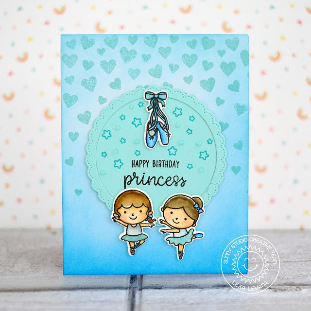 Sunny Studio Stamps Fancy Frames Circles Tone on Tone Princess Card by Lexa