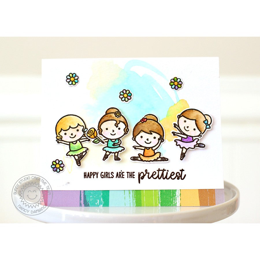 Sunny Studio Stamps Tiny Dancer Happy Girls are the Prettiest Card