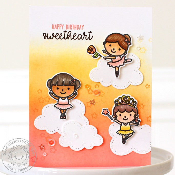 Sunny Studio Stamps Tiny Dancers Ballerinas Dancing in the Clouds Birthday Card