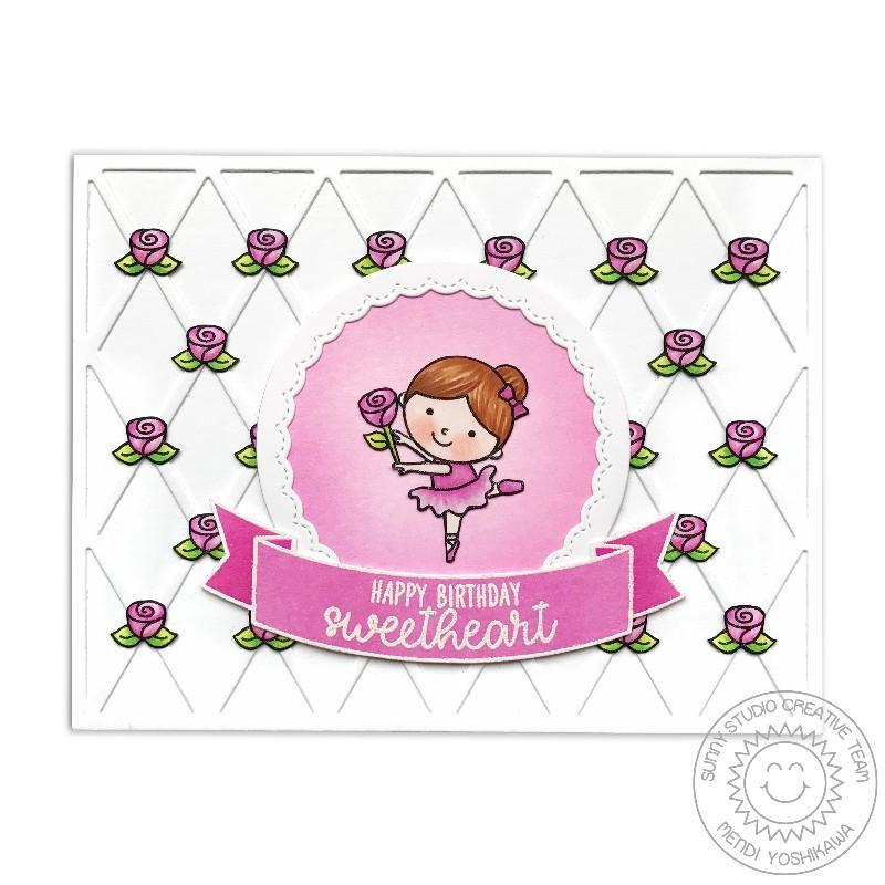 Sunny Studio Tiny Dancers Rosette Sweetheart Birthday Card by Mendi Yoshikawa