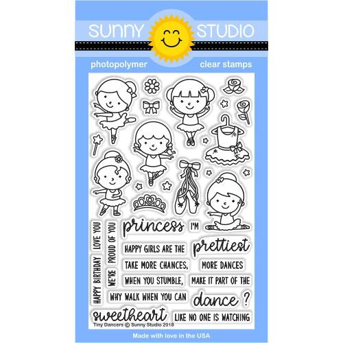 Sunny Studio Tiny Dancers Ballerina Ballet 4x6 Clear Photopolymer Stamp Set