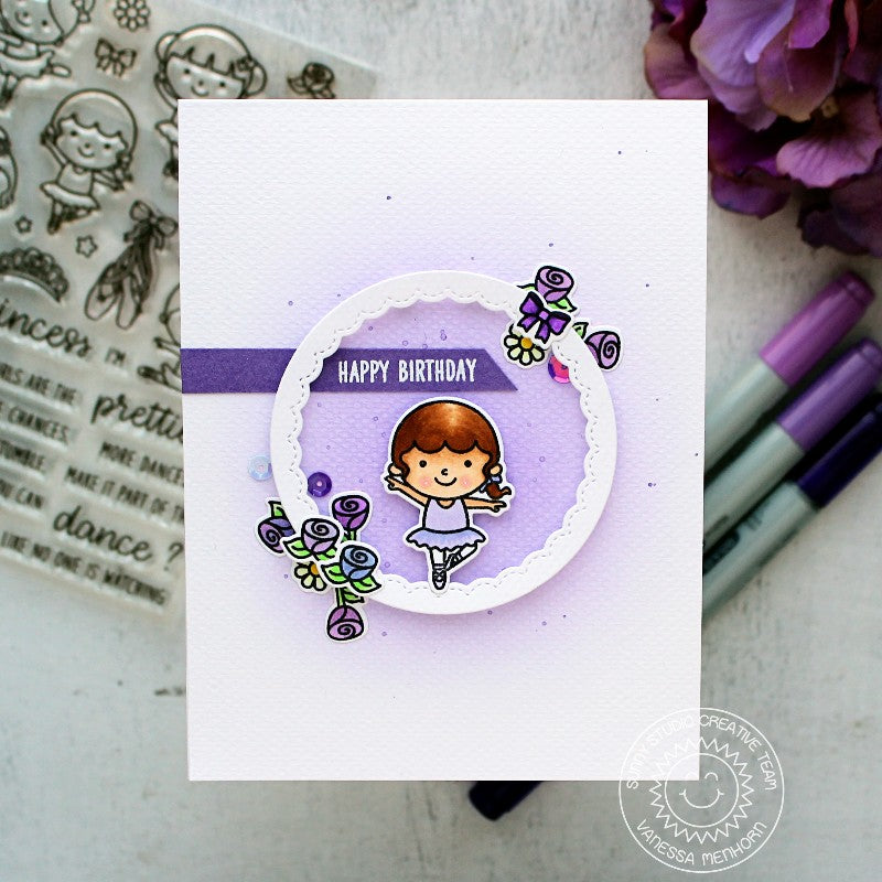 Sunny Studio Stamps Tiny Dancers Purple Birthday Card by Vanessa
