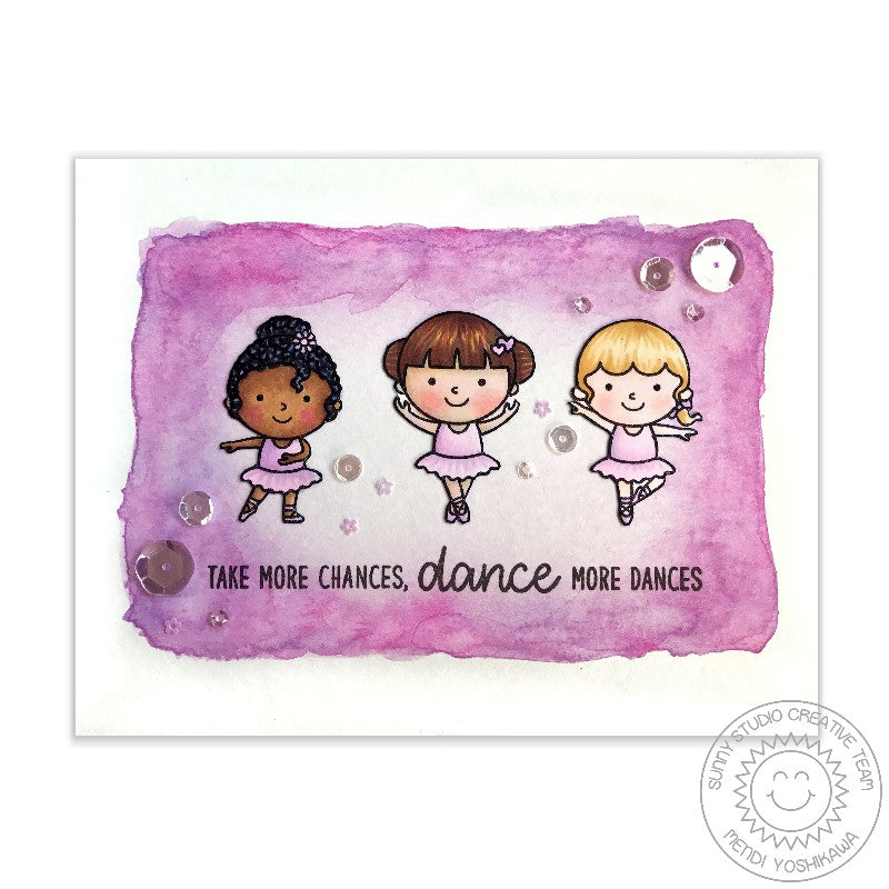 Sunny Studio Tiny Dancers 3 Ballerinas Watercolor Card by Mendi Yoshikawa