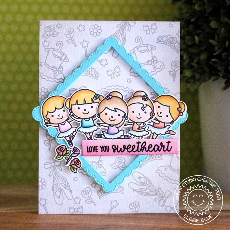 Sunny Studio Stamps Tiny Dancers Ballet Recital Card using Fancy Frames Square Dies