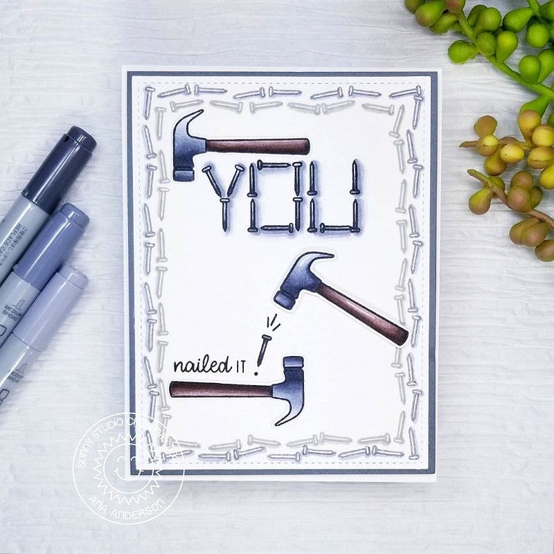 Sunny Studio Stamps Hammer & Nails You Nailed It Card by Ana Anderson (using Tool Time 2x3 Clear Photopolymer Stamp Set)