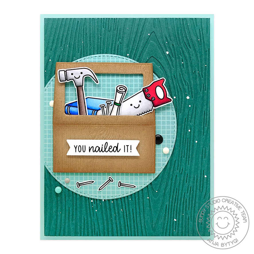 Sunny Studio Stamps Masculine Themed Tool Box Wood Embossed Handmade Card (using Tool Time 2x3 Clear Photopolymer Stamp Set)