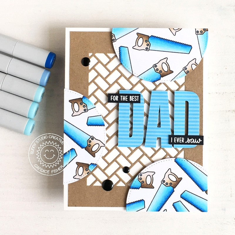 Sunny Studio Stamps Saw Themed Kraft Paper Blue & White Punny Father's Day Handmade Card with grate background (using Frilly Frames Herringbone Metal Cutting Dies)