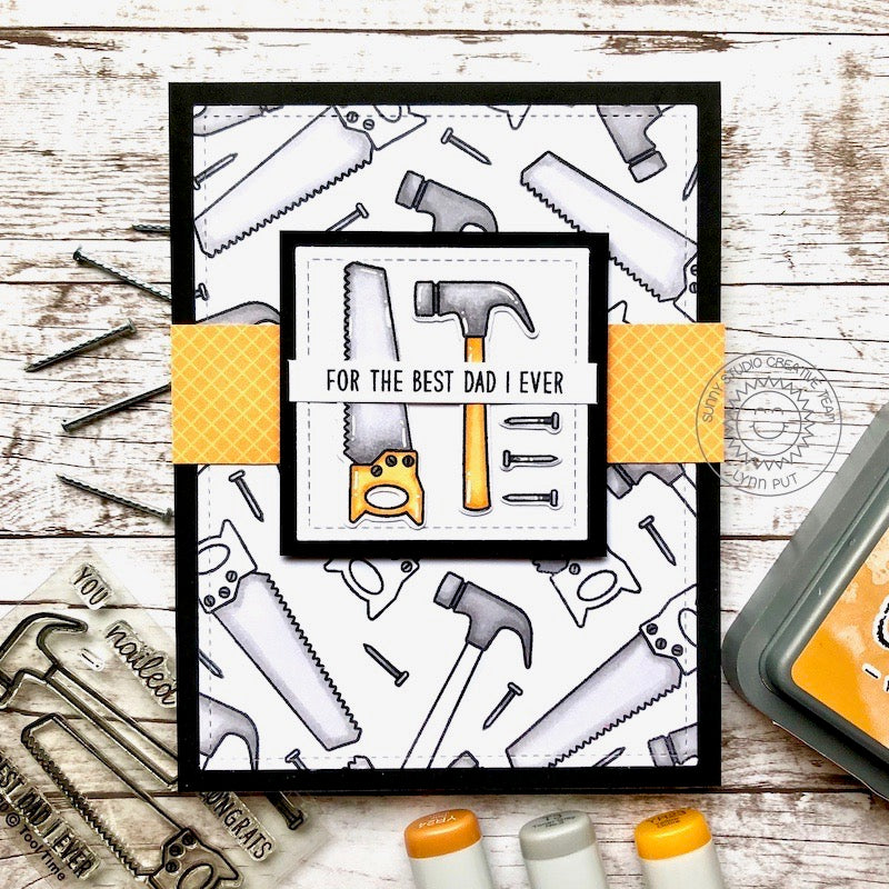 Sunny Studio Stamps Yellow, Black & White Saw & Hammer For The Best Dad I Ever Saw Father's Day Puns Masculine Themed Handmade Card (using Tool Time Mini 2x3 Clear Photopolymer Stamp Set)
