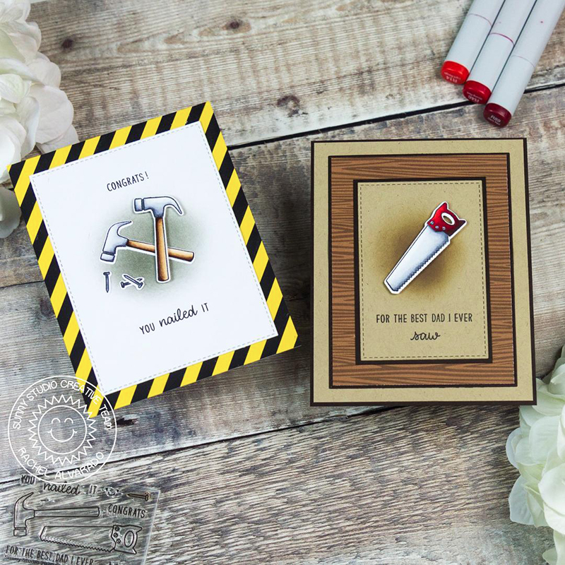 Sunny Studio Stamps You Nailed It & For the Best Dad I Ever Saw Hammer Tools Handmade Father's Day Puns Card with Wood Print (using Amazing Argyle Woodgrain Double Sided 6x6 Patterned Paper Pad)
