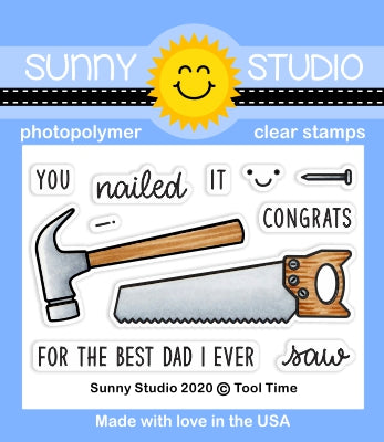 Sunny Studio Stamps Tool Time Hammer, Nail & Saw 2x3 Clear Photopolymer Stamp Set