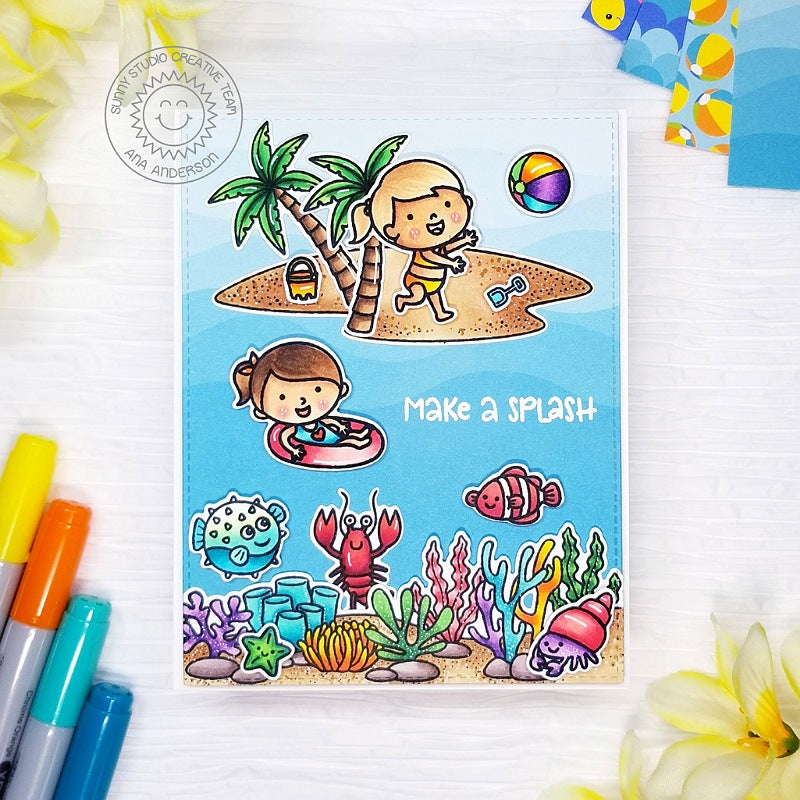 Sunny Studio Make A Splash Kids Playing at Beach, Swimming in Ocean with Palm Trees, Coral Border and Fish Summer Themed Handmade Card (using Beach Babies 4x6 Clear Photopolymer Stamp Set)