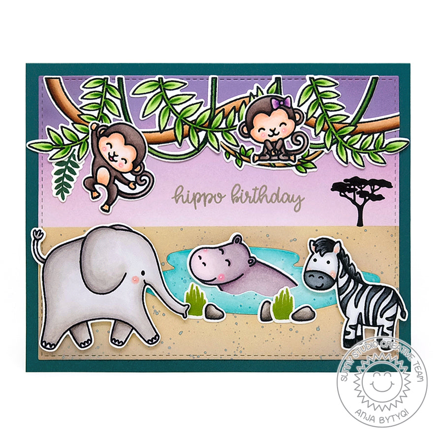 Sunny Studio Stamps Hippo Birthday Elephant, Monkey, Zebra and Hippopotamus Punny Safari Themed Card Handmade Card with Jungle Tree Branch & Hanging Vines (using Tropical Scenes 4x6 Clear Photopolymer Stamp Set)