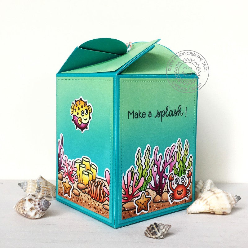 Sunny Studio Stamps Make A Splash Summer Ocean Themed Handmade Wrap Around Gift Box (using Tropical Scenes 4x6 Clear Photopolymer Stamp Set)