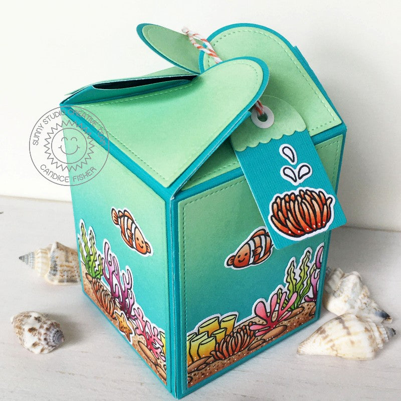 Sunny Studio Stamps Ocean Themed Summer Gift Box (using Wrap Around Box Metal Cutting Dies)