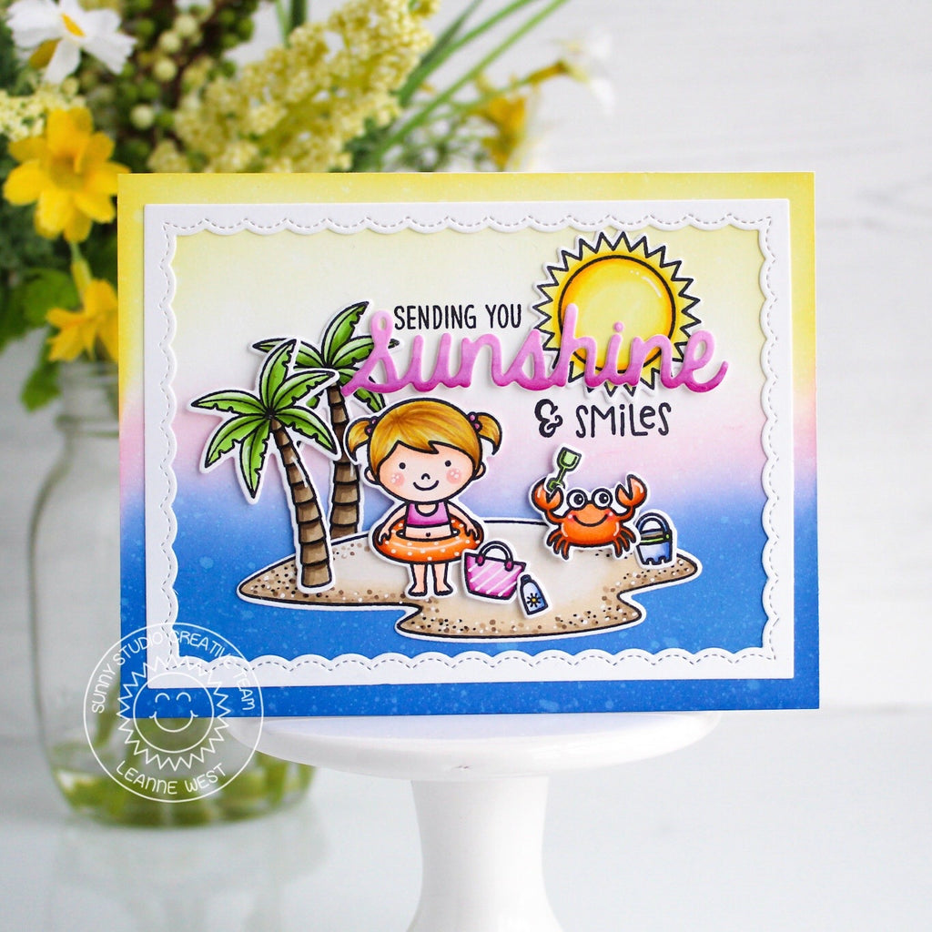 Sunny Studio Sending You Sunshine & Smiles Beach Girl & Crab Playing on Island with Palm Trees and Ocean Summer Handmade DIY Greeting Card (using Tropical Scenes 4x6 Clear Photopolymer Stamp Set)