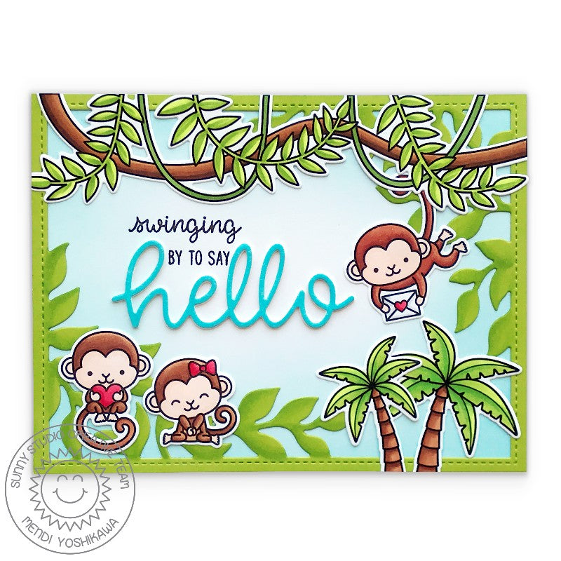 Sunny Studio Stamps Swinging By To Say Hello Monkey with Jungle Vines Handmade Summer Card (using Tropical Scenes 4x6 Clear Photopolymer Stamp Set)