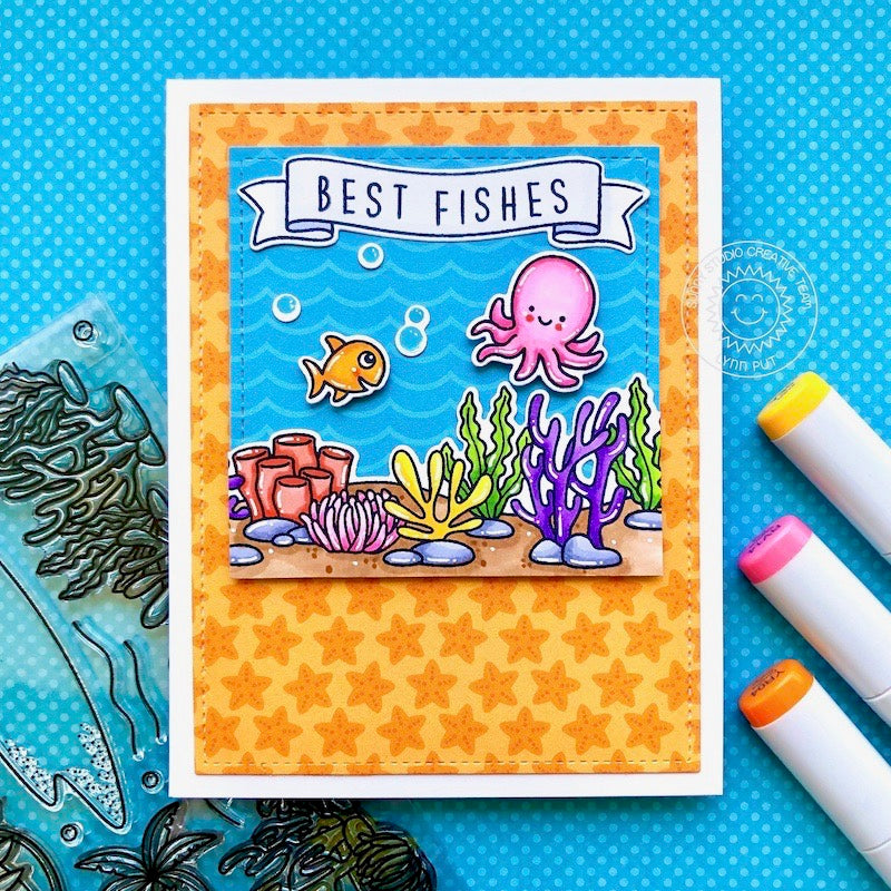 Sunny Studio Stamps Octopus Best Fishes Ocean Themed Handmade Card with Orange Starfish Print Background (using Summer Splash 6x6 Patterned Paper Pack)