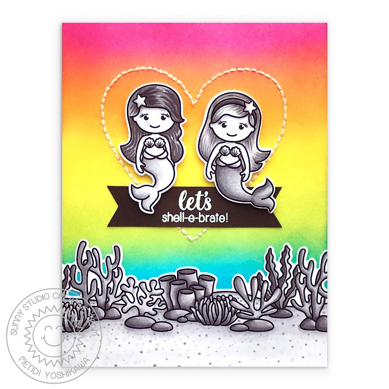 Sunny Studio Stamps Let's Shell-e-brate Black & White with Rainbow Background Ocean Themed Handmade Birthday Card (using Magical Mermaids 4x6 Clear Photopolymer Stamp Set)