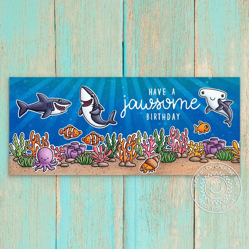 Sunny Studio Stamps Have A Jawsome Birthday Shark, Fish & Coral Under The Sea Ocean Animal Themed Slimline Handmade Card (using Tropical Scenes 4x6 Clear Photopolymer Stamp Set)