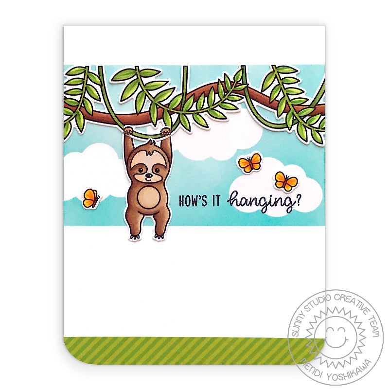 "Sunny Studio Stamps ""How's It Hanging"" Punny Sloth Hanging From A Jungle Vine Clean & Simple Handmade Card (using Silly Sloths 4x6 Clear Photopolymer Stamp Set)"
