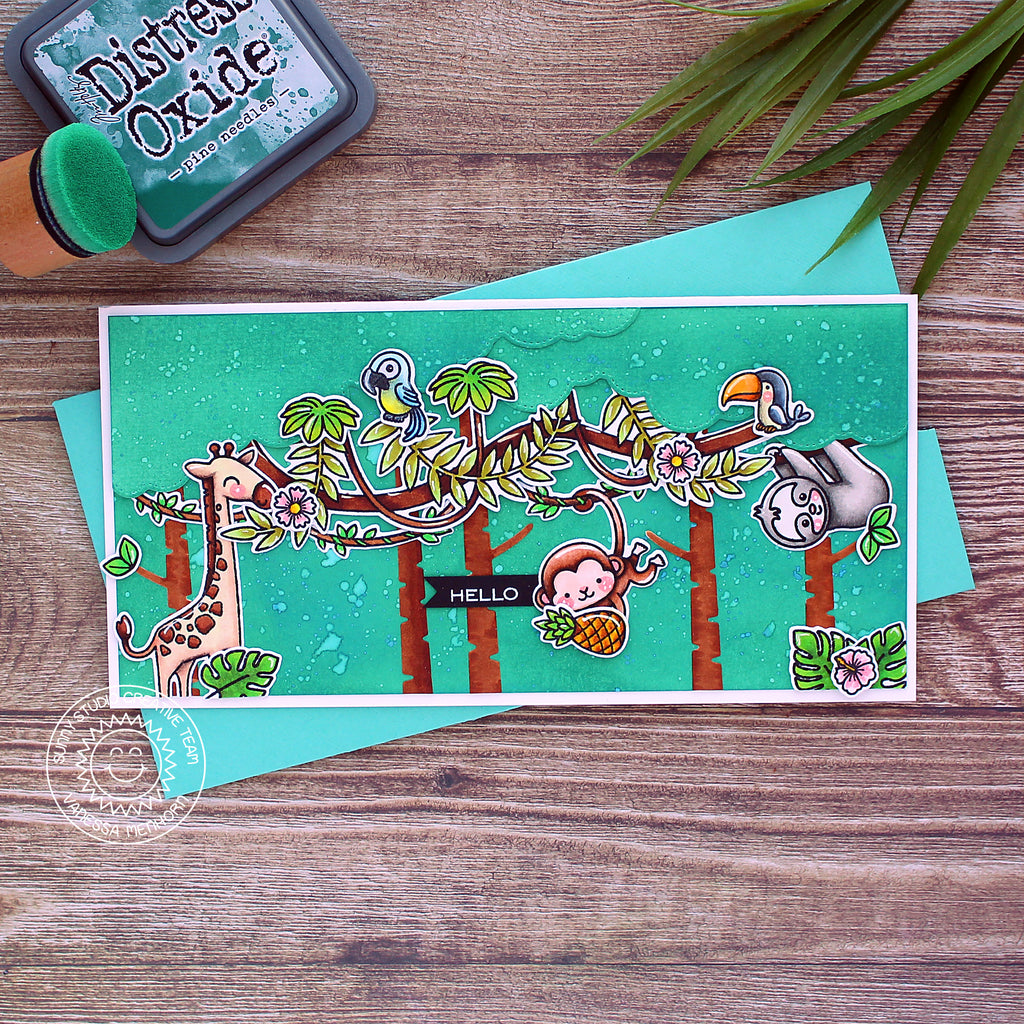 Sunny Studio Stamps Turquoise Emerald Green Giraffe, Monkey, Sloth & Tropical Bird Safari Themed Handmade Slimline Card (using Savanna Safari Animal 4x6 Clear Photopolymer Stamp Set)