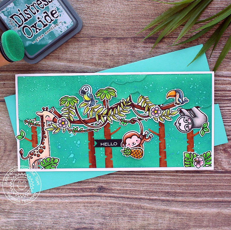 Sunny Studio Stamps Savanna Safari Monkey, Sloth, Giraffe & Birds Handmade Slimline Card with Jungle Tree Branch & Hanging Vines (using Tropical Scenes 4x6 Clear Photopolymer Stamp Set)