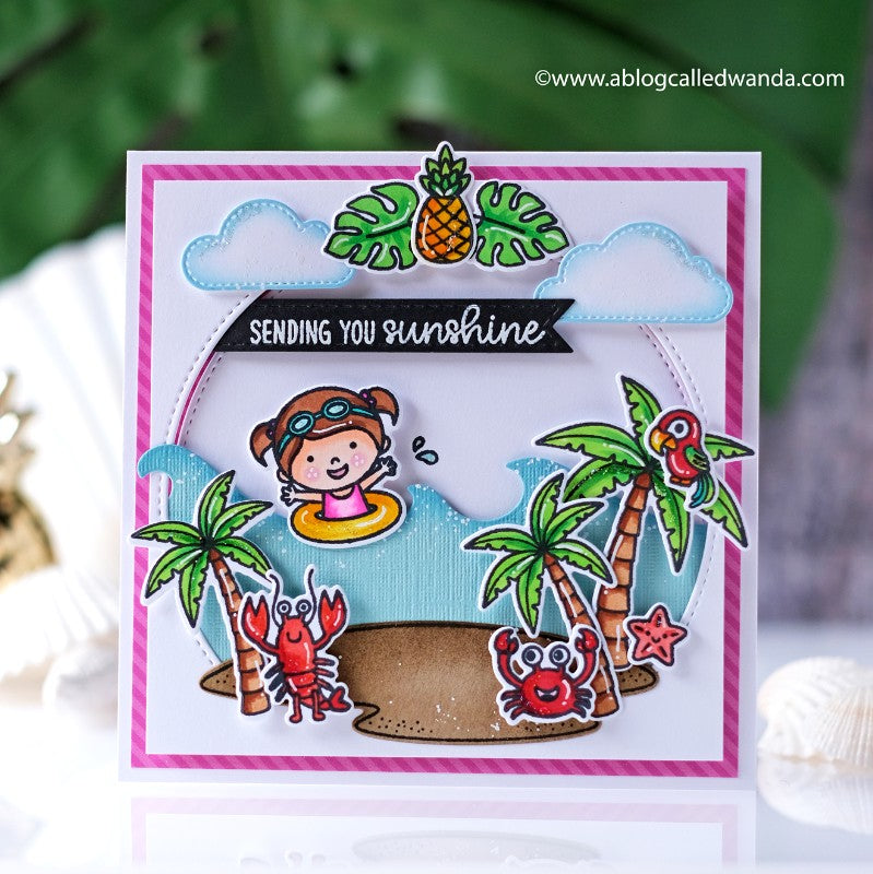 Sunny Studio Stamps Sending You Sunshine Girl Swimming on in the Waves with Palm Trees Island Themed Handmade Card (using Tropical Scenes 4x6 Clear Photopolymer Stamp Set)
