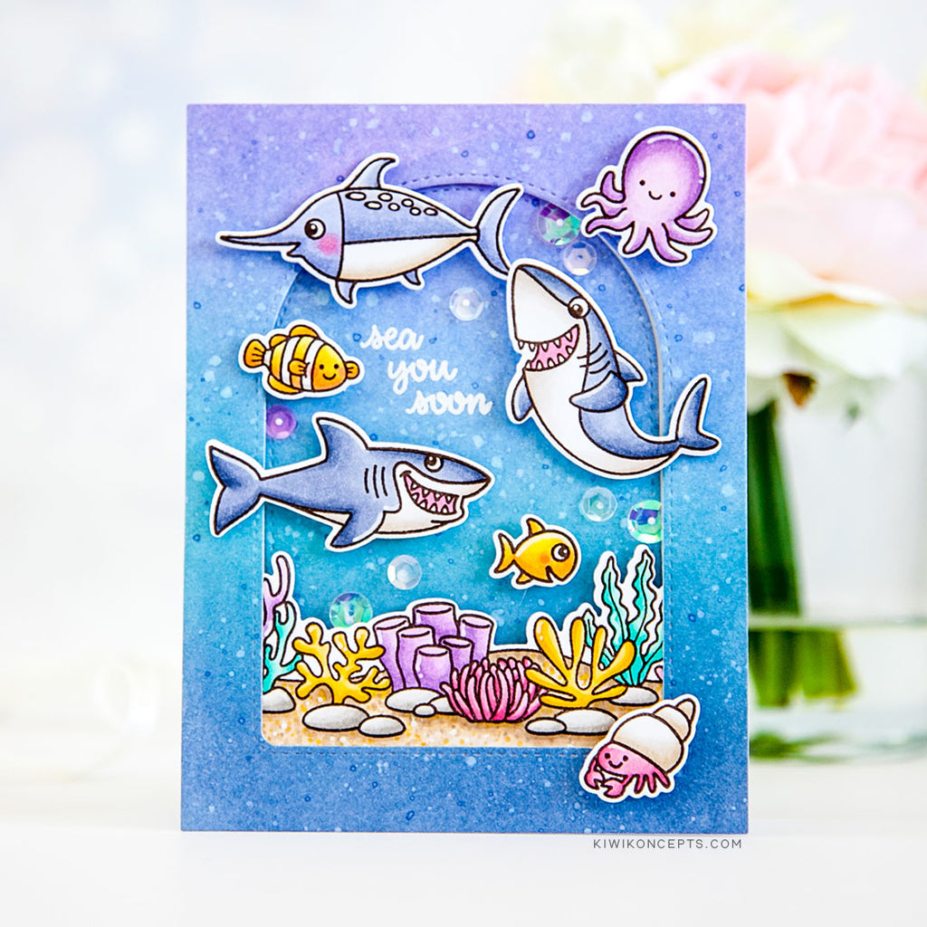 Sunny Studio Stamps Sea You Soon Shark, Swordfish, Clown Fish, Octopus and Hermit Crab Ocean Themed Card with Stitched Arch Window (using Tropical Scenes Coral Border 4x6 Clear Photopolymer Stamp Set)