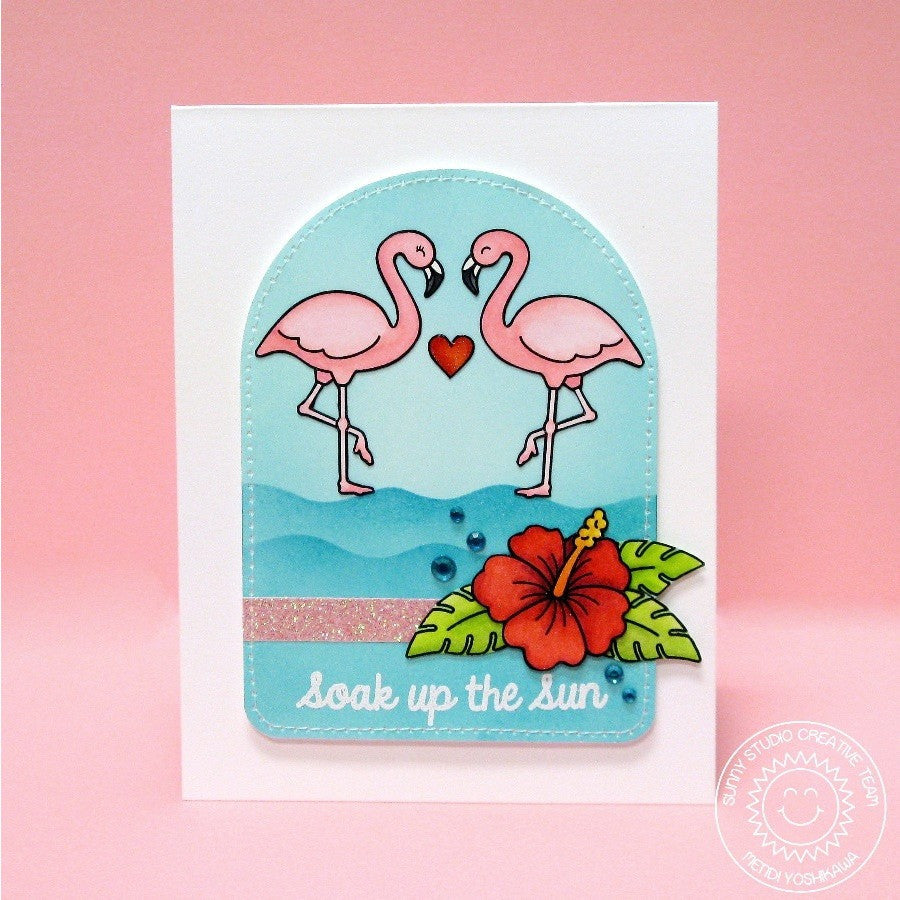 Sunny Studio Stamps Tropical Paradise Soak Up The Sun Flamingo Card