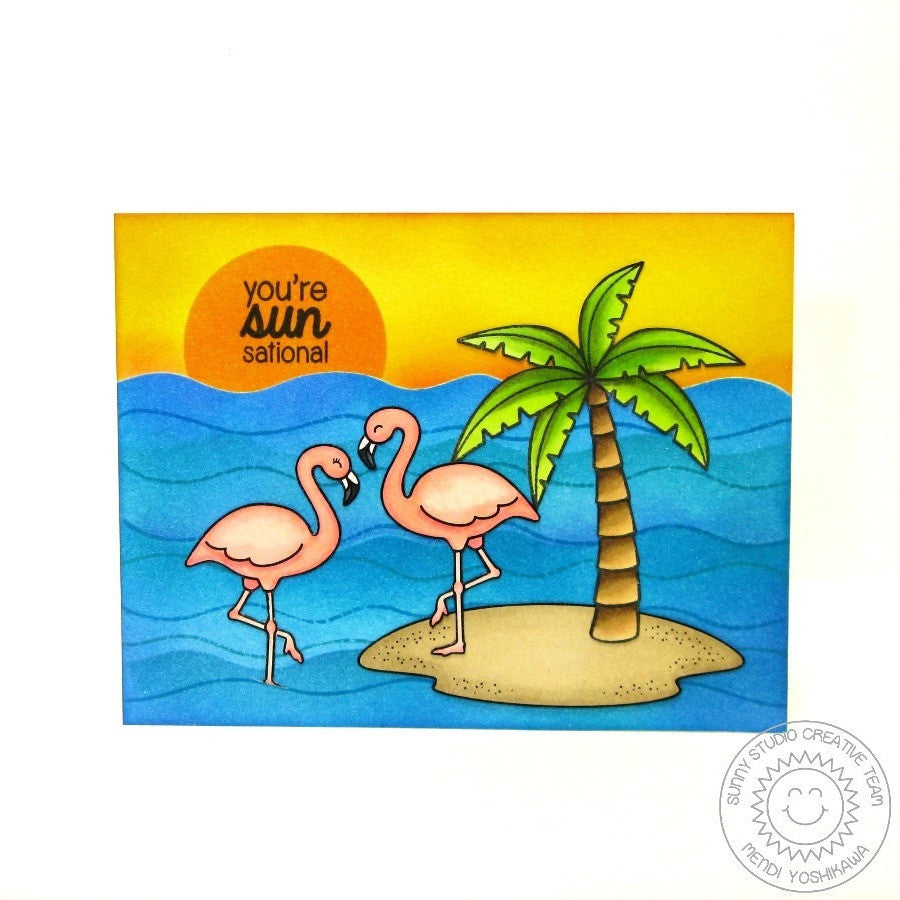 Sunny Studio Stamps Island Getaway You're Sun-sational Flamingo Card