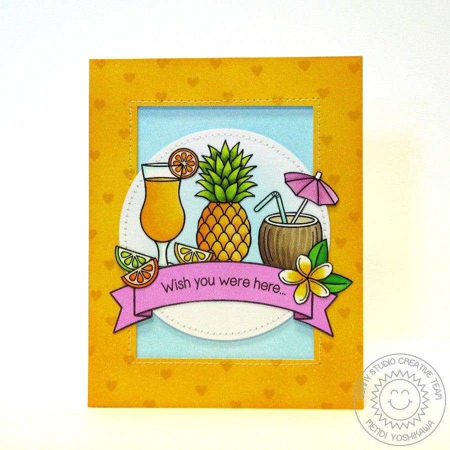 Sunny Studio Stamps Tropical Paradise Pineapple & Fruity Drink Card